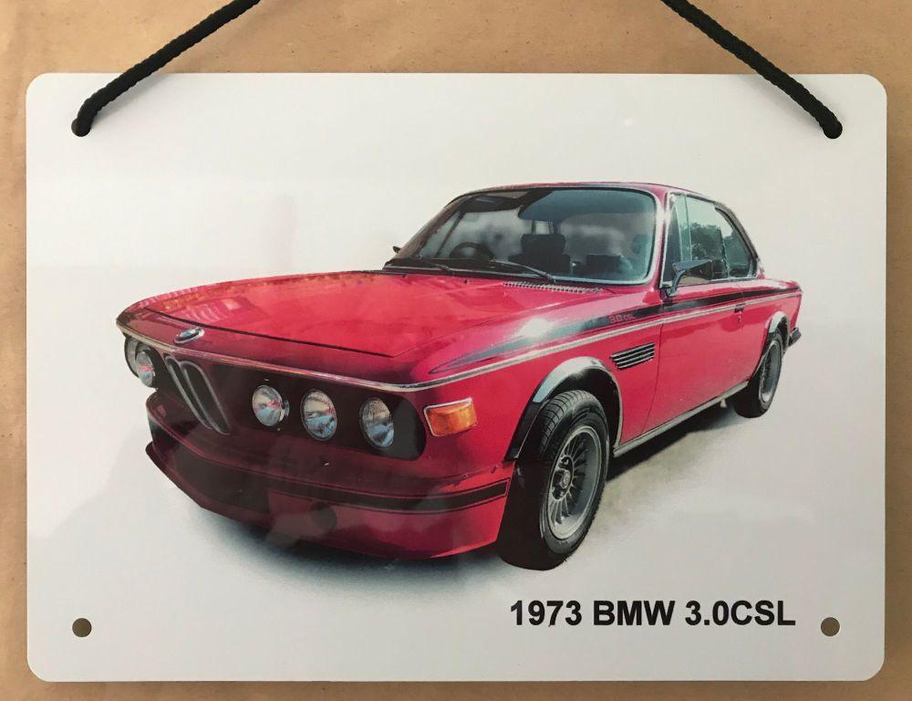 BMW 3.0CSL 1973 - A5 Aluminium Plaque - Ideal Gift for the German Car Enthu