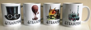 Steampunk Mugs - Set of Four - 11oz Ceramic Mugs