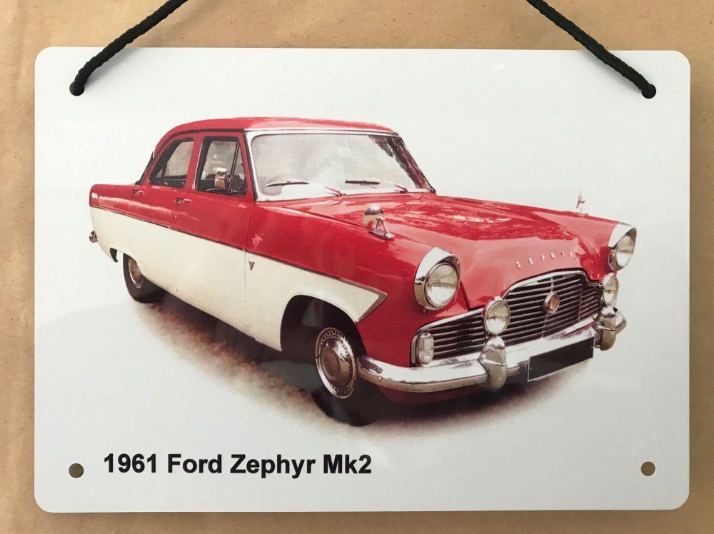 Ford Zephyr Mk2 1961 - Aluminium Plaque A5 (148 x 210mm)