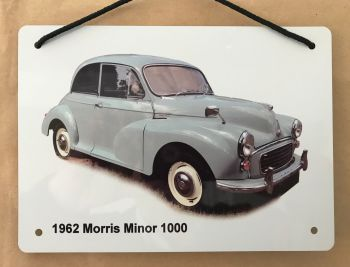Morris Minor 1962 (Pale Blue)- Aluminium Plaque A5 (148 x 210mm)