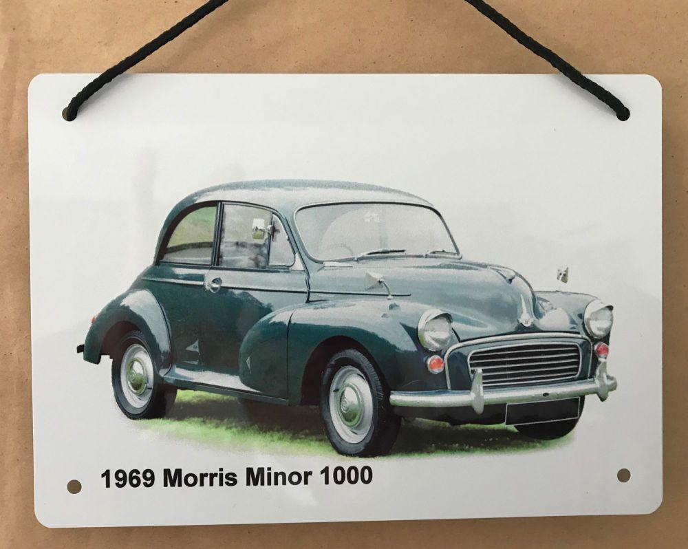 Morris Minor 1969 (Dark Blue)- Aluminium Plaque A5 (148 x 210mm)