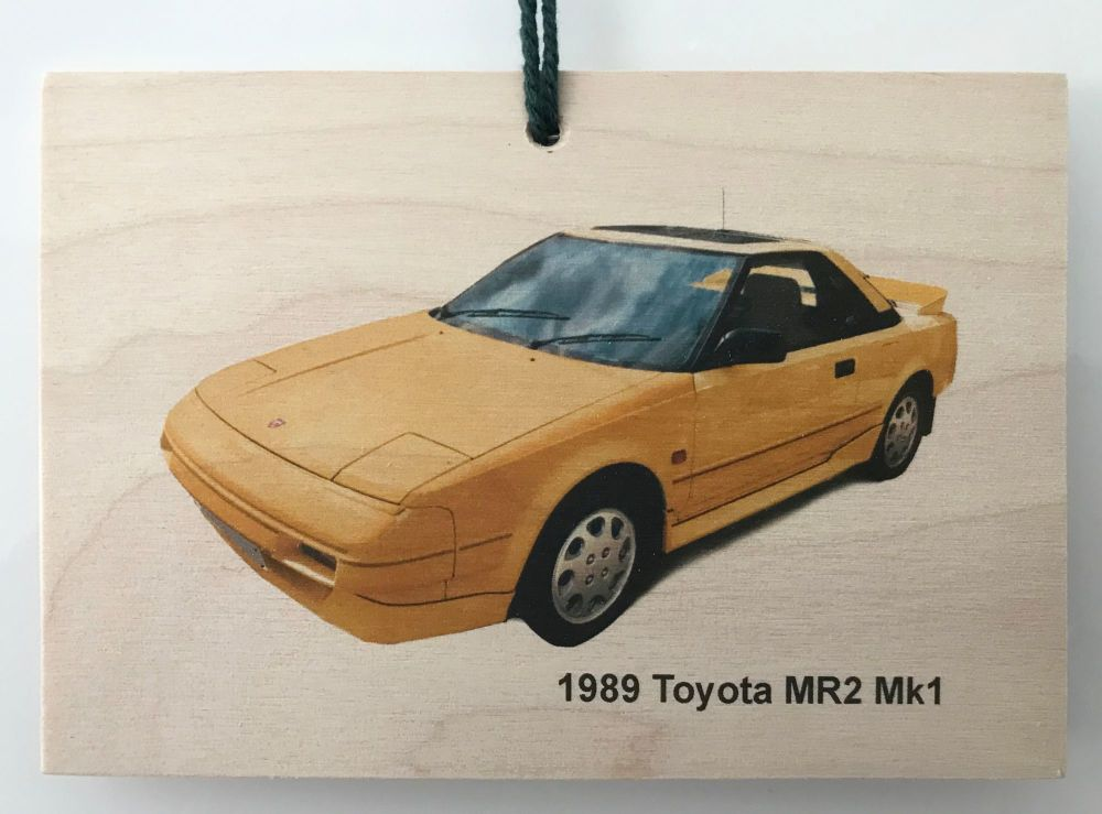 Toyota MR2 Mk1 1989 (Yellow) - Wooden Plaque A6 (105 x 148mm)