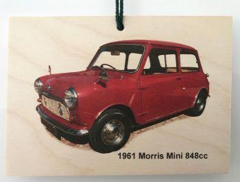 Morris Mini 848cc 1961 - Wooden Plaque A6(105 x 148mm) - Free UK Delivery