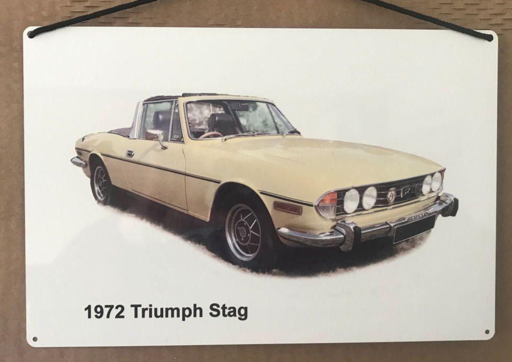 Triumph Stag 1972 - Aluminium Plaque (200 x 300mm) - Ideal Present for the