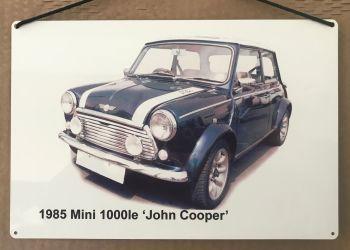 Mini 1000le 'John Cooper' edition 1985 - Aluminium Plaque (200 x 300mm) - Ideal Gift for the Mini Fan.