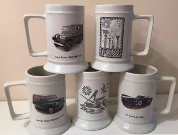 Six Ceramic Printed 18oz Tankards