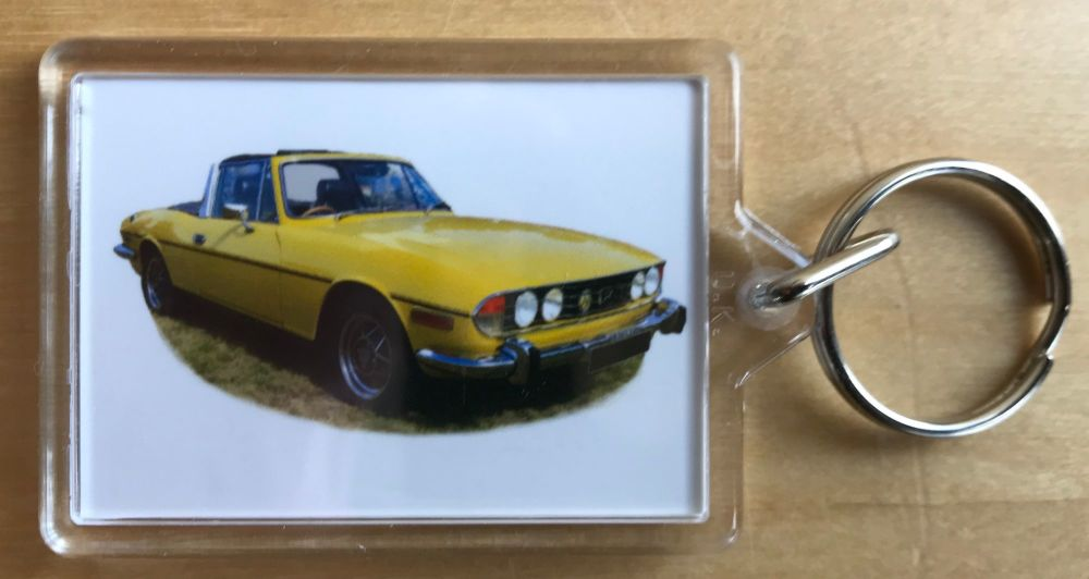 Triumph Stag 1972 - Plastic Keyring with 35 x 50mm Insert - Free UK Deliver