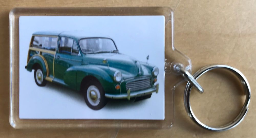 Morris Minor Traveller 1966 (Green) - Plastic Keyring with 35 x 50mm Insert