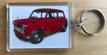 Morris Mini 848cc 1961 - Plastic Keyring with 35 x 50mm Insert - Free UK Delivery