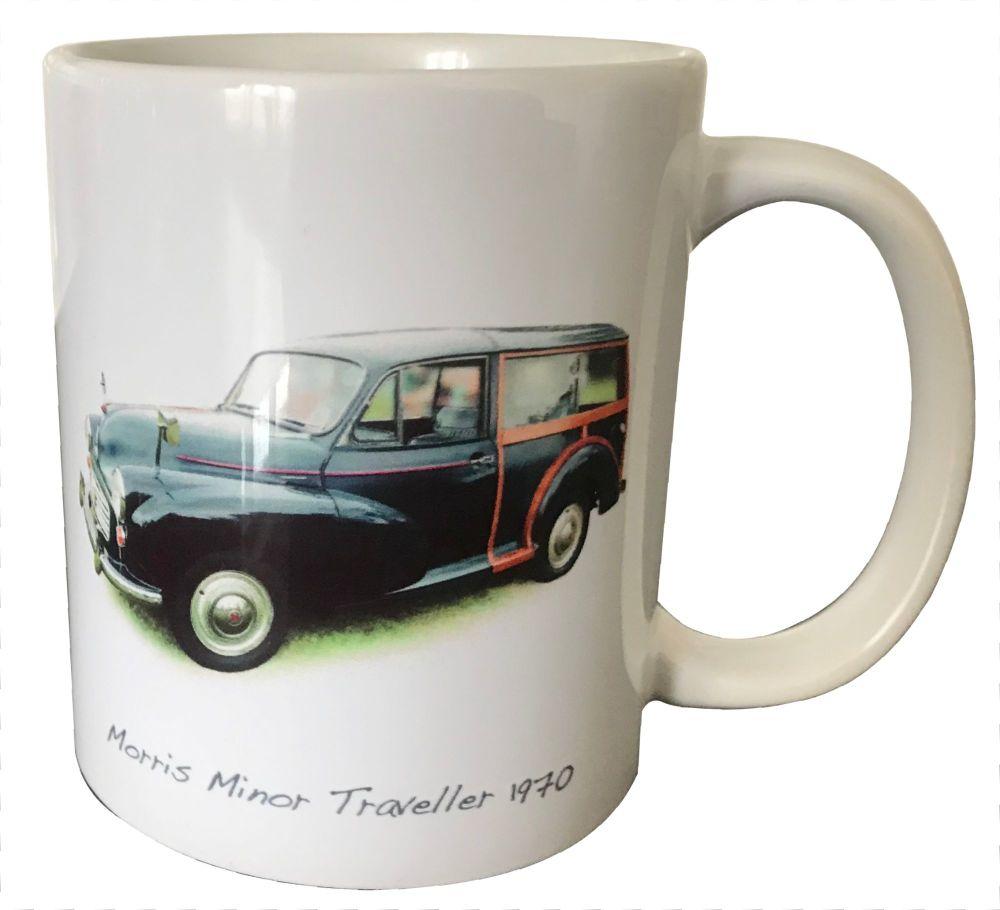 Morris Minor Traveller 1970 (Black)- 11oz Ceramic Mug - First Car Memories