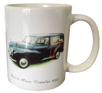 Morris Minor Traveller 1970 (Black)- 11oz Ceramic Mug - First Car Memories - Free UK Delivery