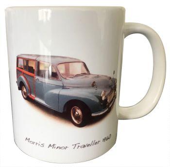 Morris Minor Traveller 1960 (Mid-Blue) - 11oz Ceramic Mug - First Car Memories - Free UK Delivery