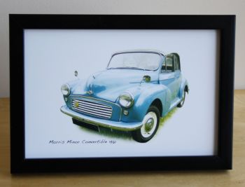 Morris Minor Convertible 1961 (Pale Blue) -  Photo (4x6in) in a Black or Silvery coloured frame- Free UK Delivery