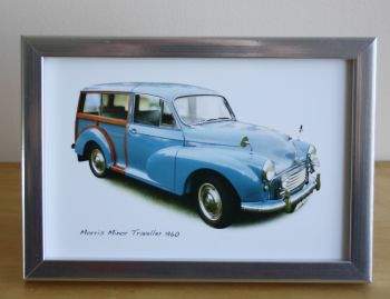 Morris Minor Traveller 1960 (Mid Blue) -  Photo (4x6in) in a Black or Silvery coloured frame- Free UK Delivery