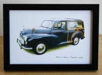 Morris Minor Traveller 1970 (Black) -  Photo (4x6in) in a Black or Silvery coloured frame- Free UK Delivery