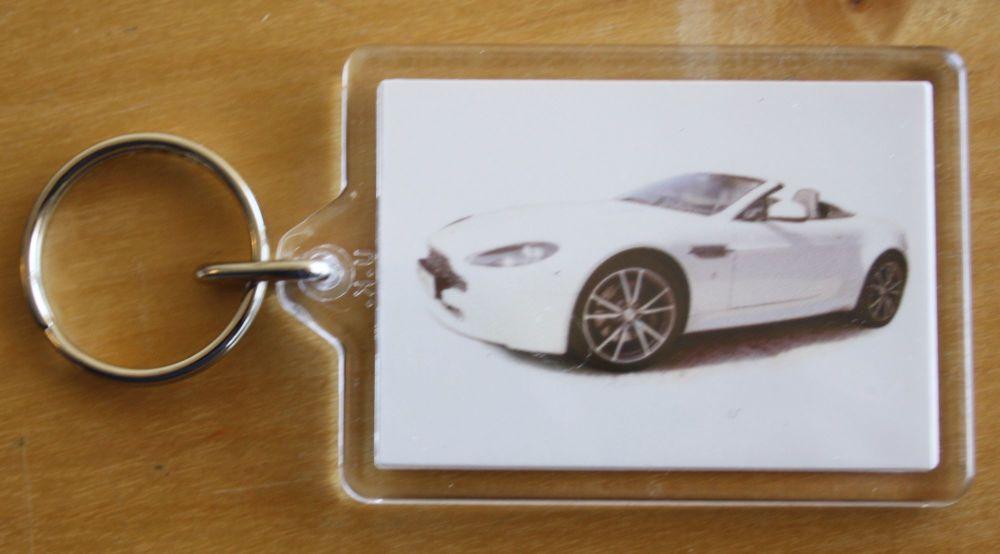 Aston Martin Vantage V8 2010 - Plastic Keyring with 35 x 50mm Insert - Free