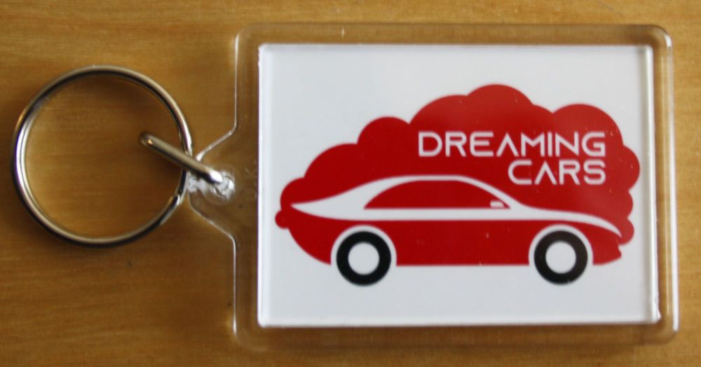 Dreaming Cars (Red & Green- Plastic Keyring with 35 x 50mm Insert - Free UK