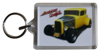 Ford Deuce Coupe 1932 (American Graffiti) - Plastic Keyring with 35 x 50mm Insert - Free UK Delivery