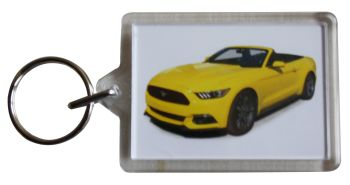 Ford Mustang 3.7l 2015 Convertible - Plastic Keyring with 35 x 50mm Insert - Free UK Delivery