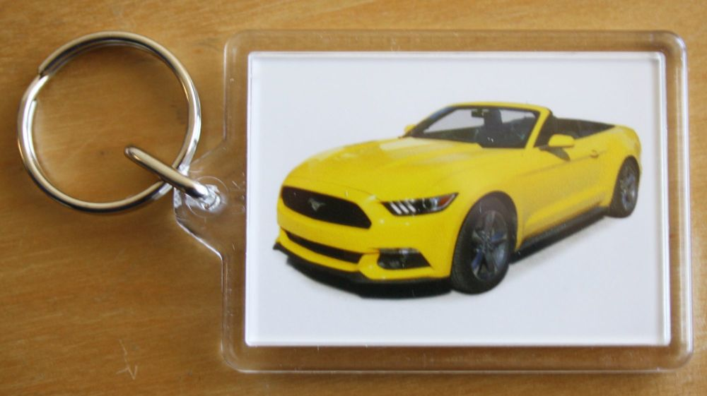 Ford Mustang 3.7l 2015 Convertible - Plastic Keyring with 35 x 50mm Insert