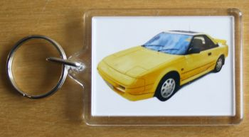 Toyota MR2 Mk1 1989 (Yellow) - Plastic Keyring with 35 x 50mm Insert - Free UK Delivery
