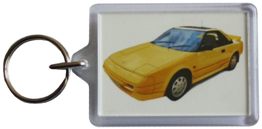 Toyota MR2 Mk1 1989 (Yellow) - Plastic Keyring with 35 x 50mm Insert - Free