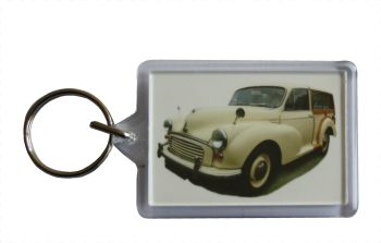 Morris Minor Traveller 1966 (Cream) - Plastic Keyring with 35 x 50mm Insert - Free UK Delivery