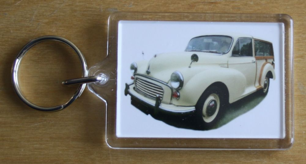 Morris Minor Traveller 1966 (Cream) - Plastic Keyring with 35 x 50mm Insert