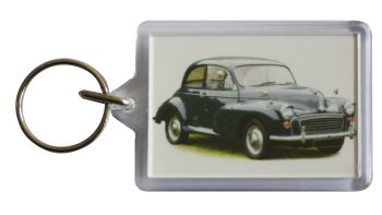 Morris Minor 1000 1969 (Dark Blue) - Plastic Keyring with 35 x 50mm Insert - Free UK Delivery