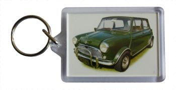 Mini Cooper S 1275cc (Radford) 1966 - Plastic Keyring with 35 x 50mm Insert - Free UK Delivery