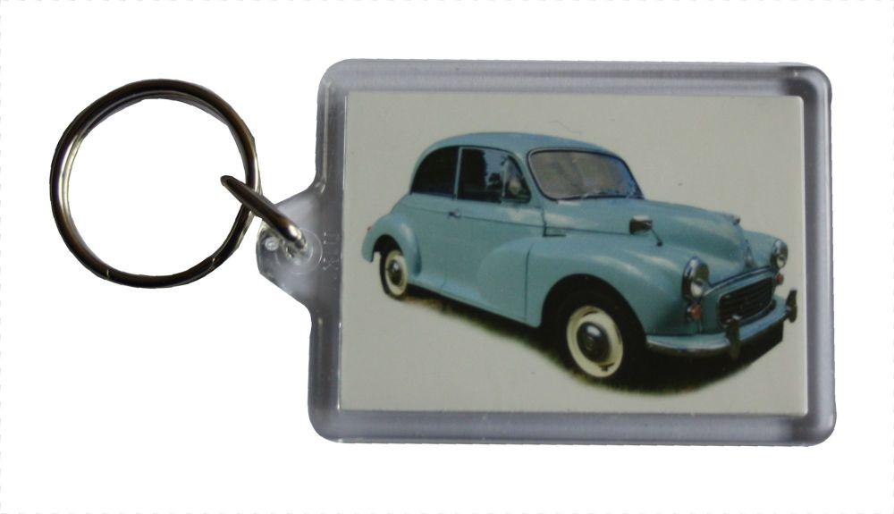 Morris Minor 1000 1962 (Pale Blue) - Plastic Keyring with 35 x 50mm Insert