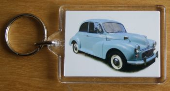 Morris Minor 1000 1962 (Pale Blue) - Plastic Keyring with 35 x 50mm Insert - Free UK Delivery