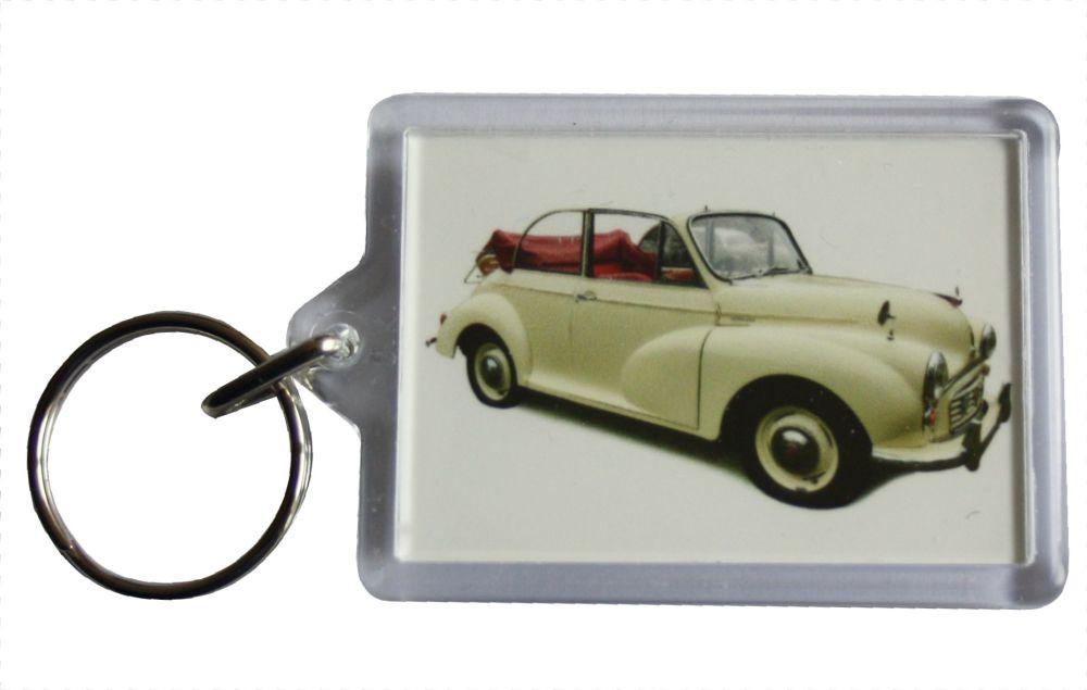 Morris Minor Convertible 1965 (Cream) - Plastic Keyring with 35 x 50mm Inse