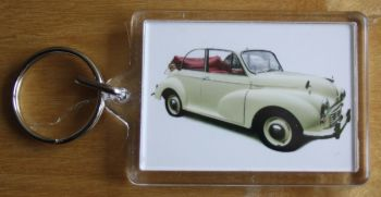 Morris Minor Convertible 1965 (Cream) - Plastic Keyring with 35 x 50mm Insert - Free UK Delivery