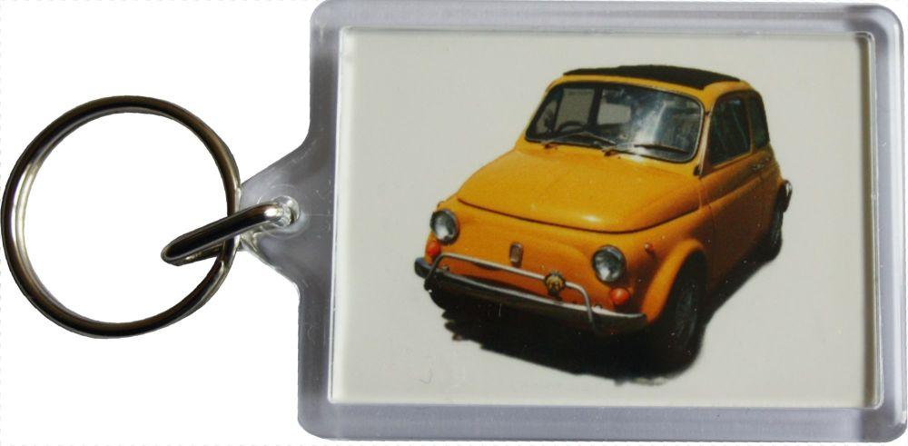 Fiat 500 Cinquecento 1970 - Plastic Keyring with 35 x 50mm Insert - Free UK