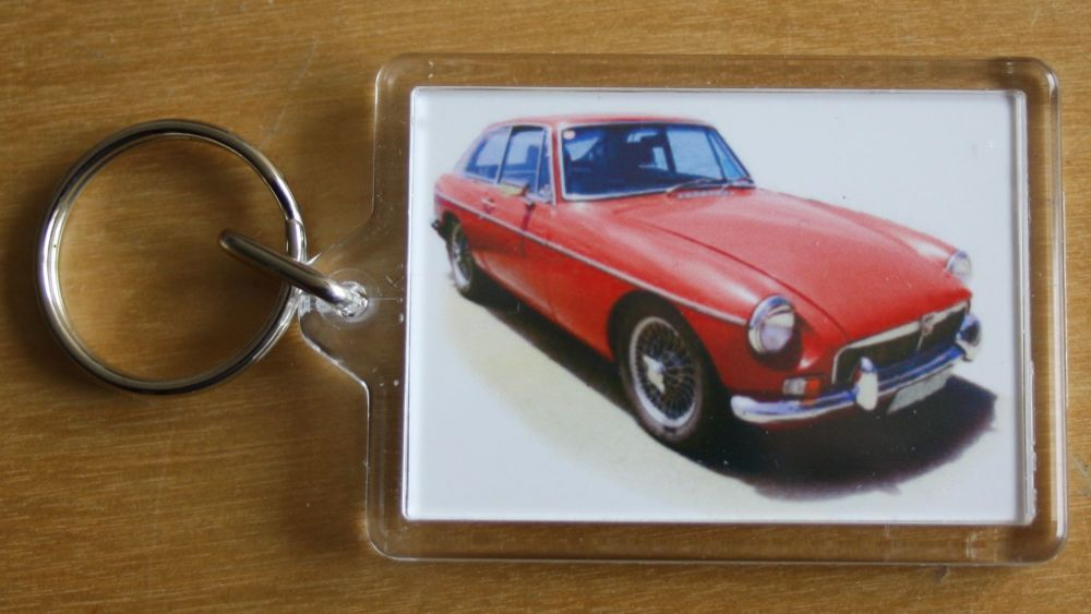 MGB GT Mk1 1969 (Red) - Plastic Keyring with 35 x 50mm Insert - Free UK Del