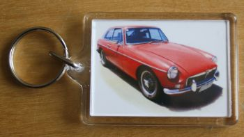 MGB GT Mk1 1969 (Red) - Plastic Keyring with 35 x 50mm Insert - Free UK Delivery