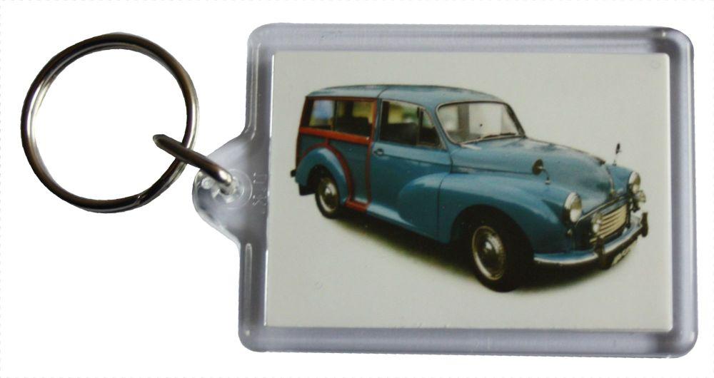 Morris Minor Traveller 1960 (Mid Blue) - Plastic Keyring with 35 x 50mm Ins