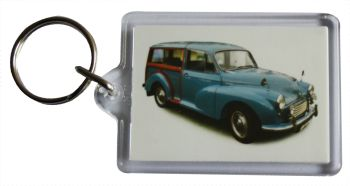 Morris Minor Traveller 1960 (Mid Blue) - Plastic Keyring with 35 x 50mm Insert - Free UK Delivery