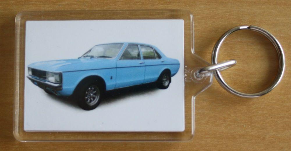 Ford Granada 3.0l Mk1 1975 - Plastic Keyring with 35 x 50mm Insert - Free U