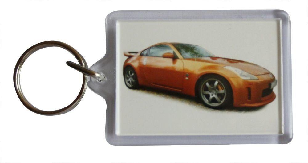 Nissan 350z 2003 - Plastic Keyring with 35 x 50mm Insert - Free UK Delivery