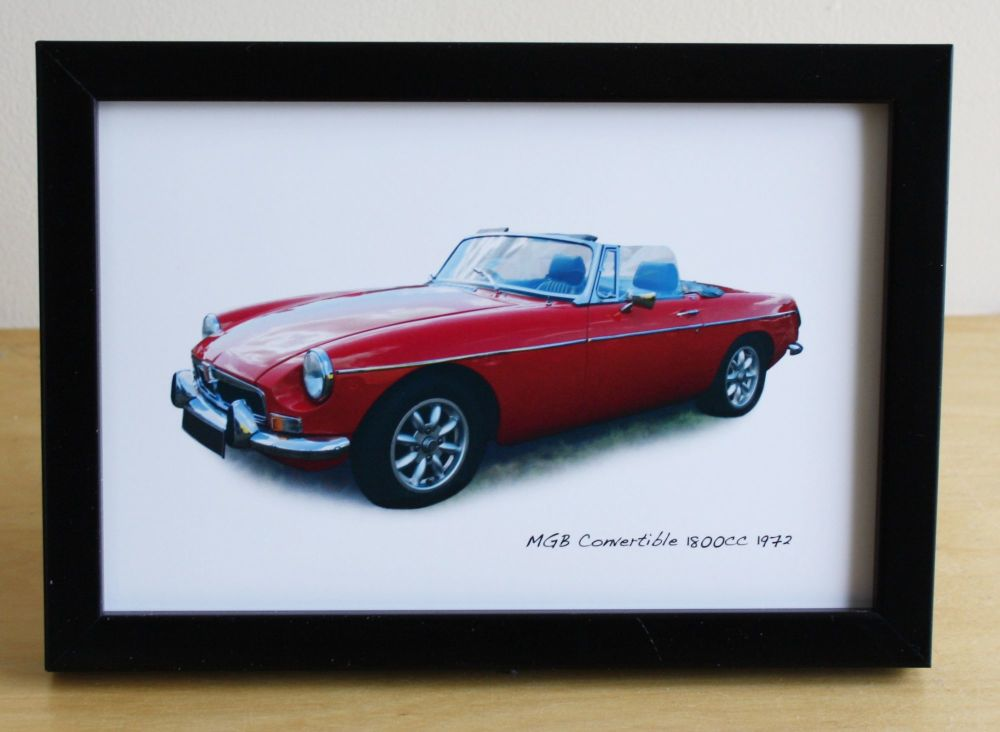 MGB Convertible 1972 - Photo (4x6in) in a Black or Silver coloured frame -