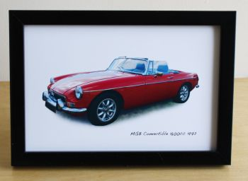 MGB Convertible 1972 - Photo (4x6in) in a Black or Silver coloured frame - Free UK Delivery