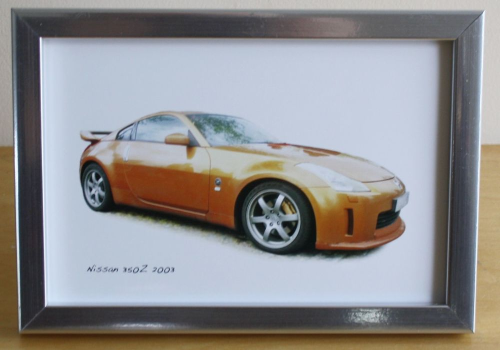 Nissan 350z 2003 - Photo (4x6in) in a Black or Silver coloured frame - Free