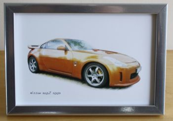 Nissan 350z 2003 - Photo (4x6in) in a Black or Silver coloured frame - Free UK Delivery
