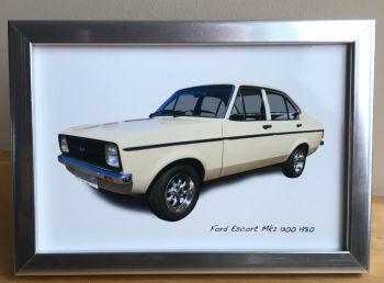 Ford Escort Mk2 1300 1980 - Photo (4x6in) in a Black or Silver coloured frame - Free UK Delivery