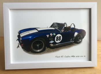 AC Cobra Mk3 4.7 litre  - Photograph (4x6in) in Black, White or Silver Coloured Frame - Free UK Delivery