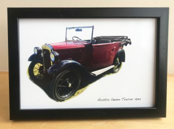 Austin Seven Tourer 1934 - Photograph (4x6in) in Black, White or Silver Coloured Frame - Free UK Delivery
