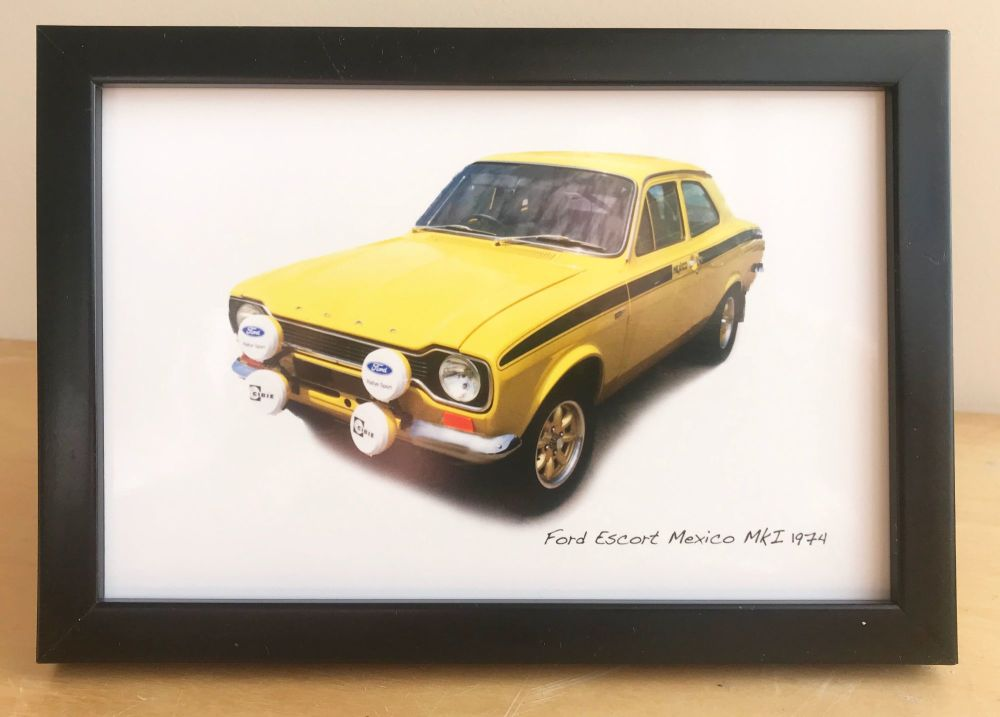 Ford Escort Mexico Mk1 1974 (Yellow) - Photograph (4x6in) in Black, White o