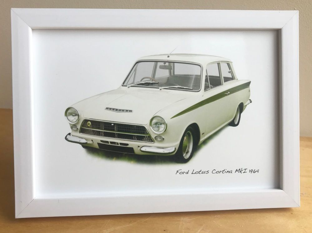 Ford Lotus Cortina Mk1 1964 - Photograph (4x6in) in Black, White or Silver